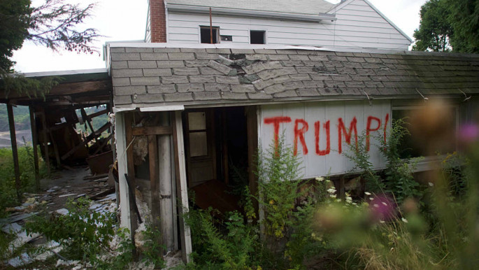 Trump's name on an abandoned home in a Pennsylvania coal town