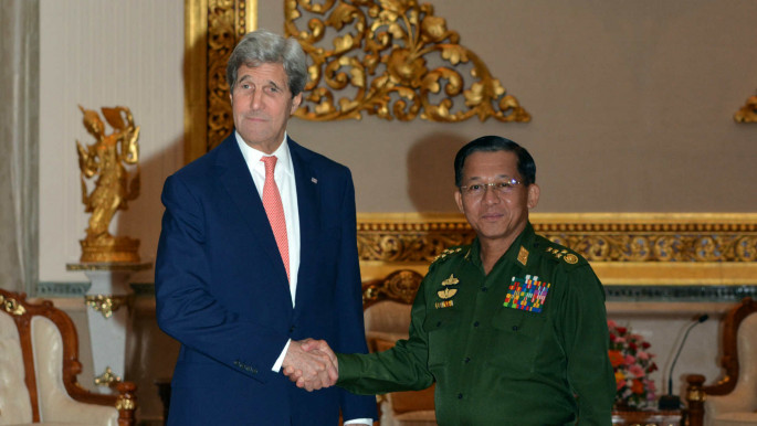 Myanmar General Min Aung Hlain with Kerry