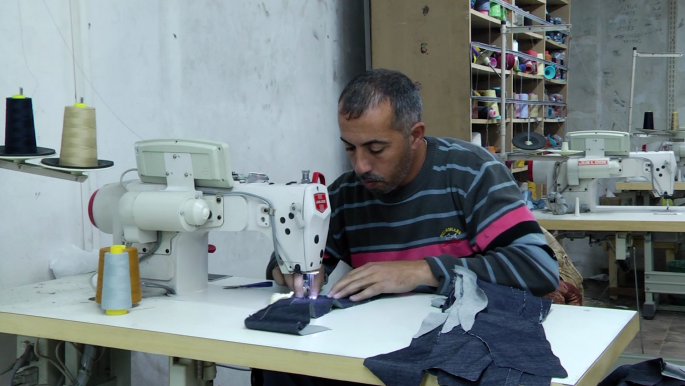 Palestinian factory workers in Gaza